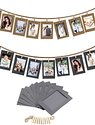 cheap -10PCS DIY Photo Frame Wooden Clip Paper Picture Holder Wall Decoration For Wedding Graduation Party Photo Booth Props