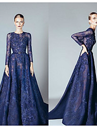 cheap -A-Line Jewel Neck Court Train Lace / Tulle Elegant Formal Evening Dress with Beading / Appliques / Sash / Ribbon 2020