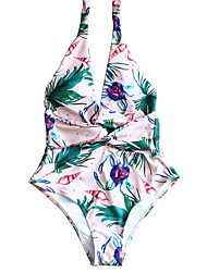 cheap -Women's Basic Blushing Pink Halter Cheeky High Waist One-piece Swimwear - Floral Backless Lace up S M L Blushing Pink