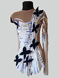 cheap -21Grams Rhythmic Gymnastics Leotards Artistic Gymnastics Leotards Women's Girls' Dress Ivory Spandex High Elasticity Handmade Jeweled Diamond Look Long Sleeve Competition Dance Ice Skating Rhythmic