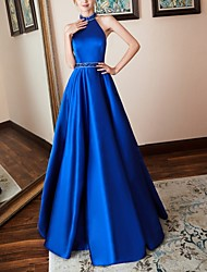 cheap -A-Line Open Back Prom Formal Evening Dress Halter Neck Sleeveless Floor Length Satin with Crystals Sequin 2020