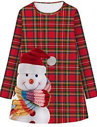 cheap -Kids Girls' Basic Cute Snowman Plaid Cartoon Christmas Print Long Sleeve Knee-length Dress Red