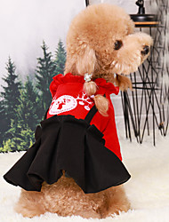 cheap -Dog Dress Winter Dog Clothes Red Costume Polyster Print Santa Claus Cosplay Christmas XS S M L XL