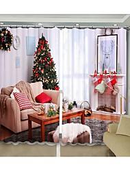 cheap -New Christmas Curtain White Christmas House Digital Printing 3D Curtain Festival High Precision Black Silk Cloth High Quality Blackout Curtain