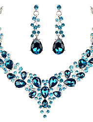 cheap -Women's Clear Blue Red AAA Cubic Zirconia Collar Necklace Chandelier Heart Fashion Elegant Rhinestone Earrings Jewelry aqua blue / bright red / Champagne For Wedding Engagement Holiday 1 set