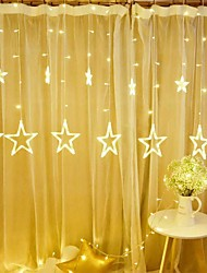 cheap -1pc 12 Five-pointed Star LED String Light Starry Sky Lamp Curtain Waterfall lights Ice Lantern Garland Decorative 8 Flash Modes
