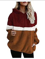 cheap -Women's Basic Hoodie - Color Block Brown S