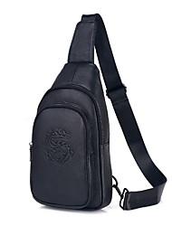 cheap -Men's Embossed Cowhide Sling Shoulder Bag Letter Black