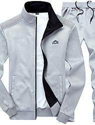 cheap -Men's 2-Piece Embroidered Tracksuit Sweatsuit Casual Long Sleeve Front Zipper Fleece Thermal / Warm Windproof Soft Running Walking Jogging Sportswear Plus Size Sweatshirt and Pants Athleisure Wear
