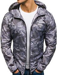 abordables -Homme Quotidien / Sports Printemps & Automne Normal Veste, camouflage Capuche Manches Longues Polyester Vert Véronèse / Bleu / Gris