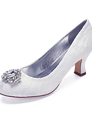 cheap -Women's Wedding Shoes Cuban Heel Round Toe Wedding Pumps Vintage Classic Wedding Party & Evening Lace Crystal Solid Colored White Ivory