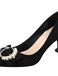 cheap -Women's Wedding Shoes Stiletto Heel Pointed Toe Bowknot Suede Sweet Spring &  Fall Black / Almond / Red / Party & Evening