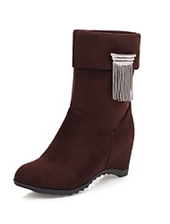 cheap -Women's Boots Hidden Heel Round Toe Sequin / Imitation Pearl / Tassel Faux Leather Booties / Ankle Boots Casual / Sweet Walking Shoes Spring / Fall & Winter Black / Dark Brown / Burgundy