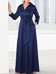 cheap -A-Line V Neck Floor Length Chiffon Long Sleeve Elegant & Luxurious Mother of the Bride Dress with Sash / Ribbon 2020