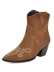 cheap -Women's Boots Cowboy / Western Boots Chunky Heel Pointed Toe Faux Fur Booties / Ankle Boots Sweet / Minimalism Spring &  Fall / Fall & Winter Black / Brown / Beige