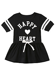 cheap -Baby Girls' Active Black & White Print / Solid Colored Print Short Sleeves Overall & Jumpsuit Black