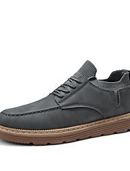 cheap -Men's Comfort Shoes PU Fall Casual Oxfords Non-slipping Black / Gray / Khaki