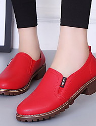 cheap -Women's Flats Flat Heel Round Toe PU Fall & Winter Black / White / Red