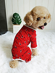 cheap -Dog Jumpsuit Winter Dog Clothes Red Costume Polyster Print Cosplay Christmas XXS XS S M L
