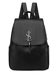 Недорогие -Большая вместимость Кожа PU Молнии рюкзак Сплошной цвет Повседневные Черный / Наступила зима