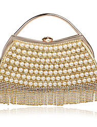 cheap -Women's Bags Polyester Alloy Evening Bag Pearls Tassel Striped Wedding Bags Wedding Party Event / Party Black Blue Red Gold