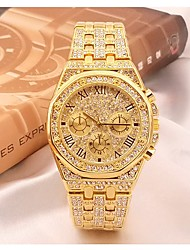cheap -Men's Dress Watch Japanese Quartz Pave Stainless Steel Silver / Gold 30 m Chronograph Casual Watch Imitation Diamond Analog Luxury Rhinestone Fashion - Gold Silver Two Years Battery Life / Large Dial