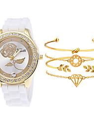 cheap -Women's Quartz Watches Quartz Elegant Chronograph Analog White Black Blue / One Year / Silicone / One Year