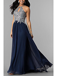 cheap -A-Line Halter Neck Sweep / Brush Train Chiffon Elegant Prom / Formal Evening Dress 2020 with Lace Insert