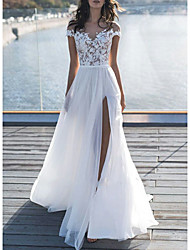 cheap -A-Line Wedding Dresses Off Shoulder Sweep / Brush Train Lace Short Sleeve Beach Boho See-Through Illusion Detail with Appliques Split Front 2020