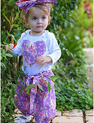 cheap -Baby Girls' Casual / Active Floral / Print Print Long Sleeve Long Clothing Set White