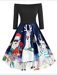 cheap -Women's Plus Size Red Green Dress Vintage Christmas Party Festival Swing Animal Snowflake Off Shoulder Deer Santa Claus Patchwork Print S M