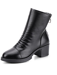 cheap -Women's Boots Block Heel Round Toe PU Winter Black / Coffee