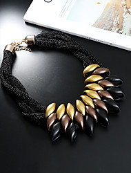 cheap -Women's Statement Necklace Statement Ladies Chunky Resin Chenille Black Silver Rainbow Necklace Jewelry One-piece Suit For Casual Date