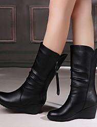 cheap -Women's Boots Wedge Heel Round Toe PU Mid-Calf Boots Fall & Winter Black