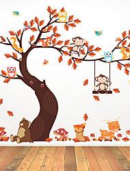 Недорогие -милая сова обезьяна качели большое дерево съемный личности стикер стены гостиной спальня диван фон mu80008