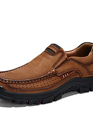 cheap -Men's Comfort Shoes Leather Fall & Winter Loafers & Slip-Ons Brown / Dark Brown