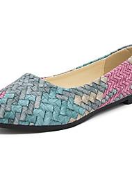 cheap -Women's Flats Flat Heel Pointed Toe PU Fall & Winter Green / Red / Blue