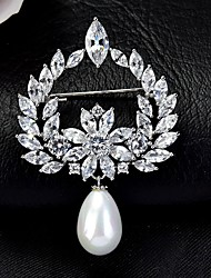 cheap -Women's AAA Cubic Zirconia Brooches Korean Brooch Jewelry White Yellow For Party Festival