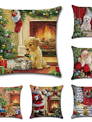 cheap -Christmas Cushion Cover 6PCS Linen Pillow Cover Holiday Cartoon Traditional Christmas Throw Pillow Cases