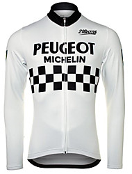 cheap -Men's Long Sleeve Cycling Jersey Winter Fleece 100% Polyester Black / White Bike Jersey Pants Top Mountain Bike MTB Road Bike Cycling UV Resistant Breathable Quick Dry Sports Clothing Apparel