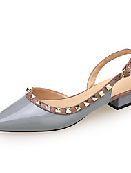 cheap -Women's Sandals Chunky Heel Pointed Toe Rivet Patent Leather Sweet / Minimalism Spring & Summer Black / Light Blue