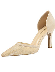 cheap -Women's Heels Stiletto Heel Pointed Toe Lace / Synthetics Minimalism Spring & Summer Black / Almond / Red / Party & Evening
