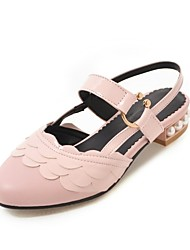 cheap -Women's Sandals Low Heel Round Toe Imitation Pearl / Buckle / Stitching Lace Faux Leather Casual / Sweet Walking Shoes Summer / Fall & Winter Black / White / Pink / Party & Evening