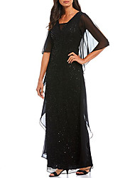 cheap -Sheath / Column Square Neck Floor Length Chiffon Elegant Formal Evening Dress with Sequin / Cascading Ruffles 2020
