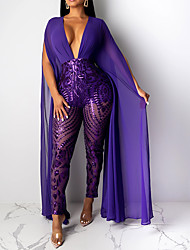 cheap -Women's Basic Black Purple Beige Jumpsuit, Solid Colored Sequins M L XL