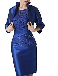 abordables -Fourreau / Colonne Bijoux Mi-long Satin Manches 3/4 Rétro Vintage / Grande Taille Robe de Mère de Mariée  avec Détail Cristal / Dentelle 2020