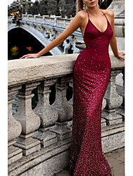 cheap -Mermaid / Trumpet Open Back Formal Evening Dress Halter Neck Sleeveless Sweep / Brush Train Polyester with Pleats Sequin 2021
