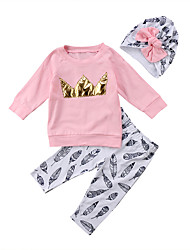 cheap -Baby Girls' Casual / Active Print / Solid Colored Print Long Sleeve Long Clothing Set Blushing Pink