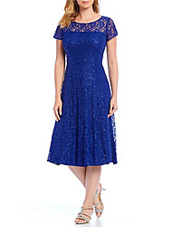 cheap -A-Line Sheath / Column Elegant Holiday Cocktail Party Dress Jewel Neck Short Sleeve Tea Length Lace Satin with Sequin Lace Insert 2020