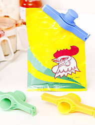 cheap -Pouring Nozzle Powder Snacks Sealing Bag Clipper Sugar Salt Food Storage Bag Clips Kitchen Gadget Random Color